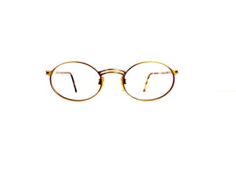 90s Giorgio Armani Oval Eyeglasses Frames Unisex Vintage 1990's Bronze with Tortoiseshell Frames 194-706 Made in Italy #M724 DIVINE (EB)
