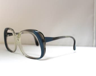 Eyeglasses CARTIER LUNETTES VINTAGE 1980s New old stock Blue anf translucent color