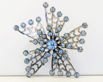 Vintage Silver Tone Blue Rhinestone Floral Brooch Pin (B-2-2)