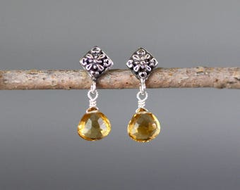 Citrine Earrings - Silver Post Earrings - Bali Earrings - November Birthstone - Yellow Gemstones - Citrine Jewelry - Wire Wrapped Earrings