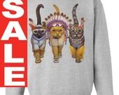 CAT SWEATSHIRT INDIANS unisex pullover crew neck -- s m l xl xxl xxxl skip n whistle