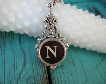 Typewriter Key Jewelry - Typewriter Necklace Letter N