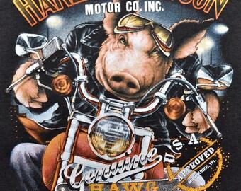 Vintage 80s 1989 HARLEY DAVIDSON Motorcycles 3D EMBLEM Genuine Hawg Hog ank Top M L