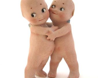 """KEWPIE HUGGERS 3 1/2"""" Bisque Doll Pair Twins Hugging"""