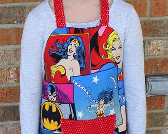 Wonder Woman Bat Girl Super Girl Kid's Crafting Cooking Gardening Apron