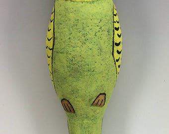 Yellow Budgie-Parakeet Wally Ceramic Wall Art