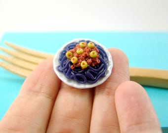 Dollhouse Miniature Food // Squid Ink Pasta for Halloween // 1:12 Scale Food