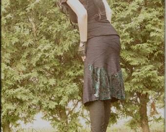 Skirt - Steampunk - Burning Man - Bohemian - Playa Wear - Bustle Skirt - Gypsy - Sexy - Turquoise and Black - Knee Length - Size Medium