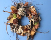 BIG SALE Dried Seed Pod and Pinecone Wreath or Candle Ring-PW73