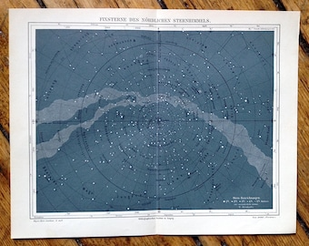 1894 ANTIQUE SKY MAP - northern hemisphere original antique star map celestial astronomy chart print of the milky way no 3