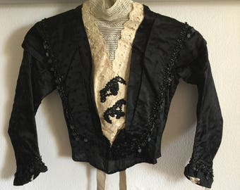 FLASH SALE Antique French 1800s Bodice | Black Brocade Silk with cream Lace | Bead detail | XXS