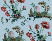 antique french chinoiserie wallpaper peonies illustration digital download