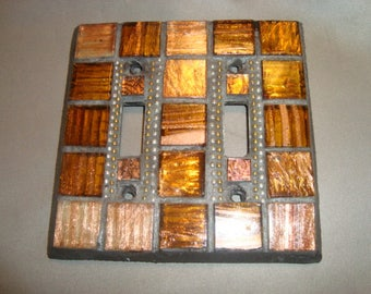MOSAIC LIGHT SWITCH Plate Cover - Double, Wall Plate, Bronze, Gold, Silver
