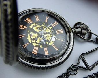 Luxury Black Pocket Watch, Mechanical Pocket Watch, Watch Chain, Engravable view window, Steampunk, Groomsmen Gift - Item MPW260