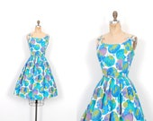 Vintage 1950s Dress / 50s Polka Dot and Floral Cotton Pique Sundress / Blue ( large L )