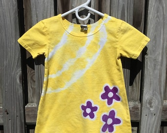 Yellow Girls Dress, Yellow Easter Dress, Girls Easter Dress, Purple Flower Dress, Flower Girl Dress, Tie Dye Dress, Yellow Flower Dress (4T)