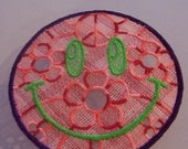 Embroidered free standing lace smiley peace patch/applique. Sew on. Shipping included.