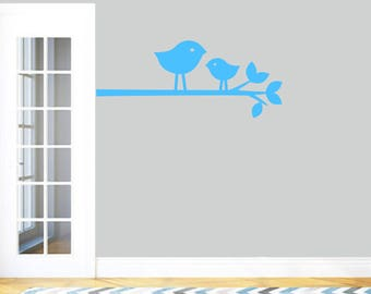 Birdies On Branch - Nursery Kid's Room Trees and Branches Animal Wall Decals