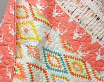 Baby Quilt-Baby Quilts-Crib Bedding-Baby Bedding-Handmade Baby Girl Quilt-Woodland-Aztec-Tribal-Navajo-Arrows-Coral Buck-Antlers Blanket