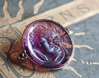 Victorian Brooch, Purple Glass, Goddess of Harvest, Romanesque Cameo Style Demeter or Ceres
