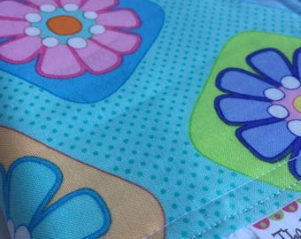 Baby Girl CHENILLE BURP CLOTH    -    Me & My Sister Designs Turquoise Floral Print
