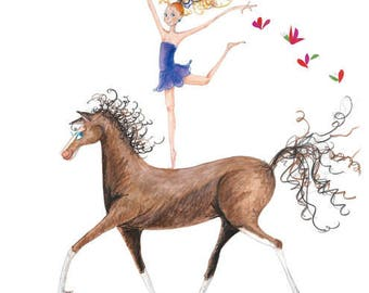 "Equestrian Horse Art-8""x10"" Print-Blonde Girl Dancer-Purple-Flowers Tiara-Brown Horse-Vaulting Riding Dance Gymnastics-WallArt Decor-Gift"