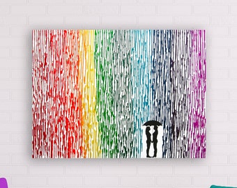 Lesbian Wedding Gift, Melted Crayon Art, Rainbow Painting, Lesbian Pride Umbrella Painting, Rainbow Decor, Couple Silhouette Lesbians 22x28