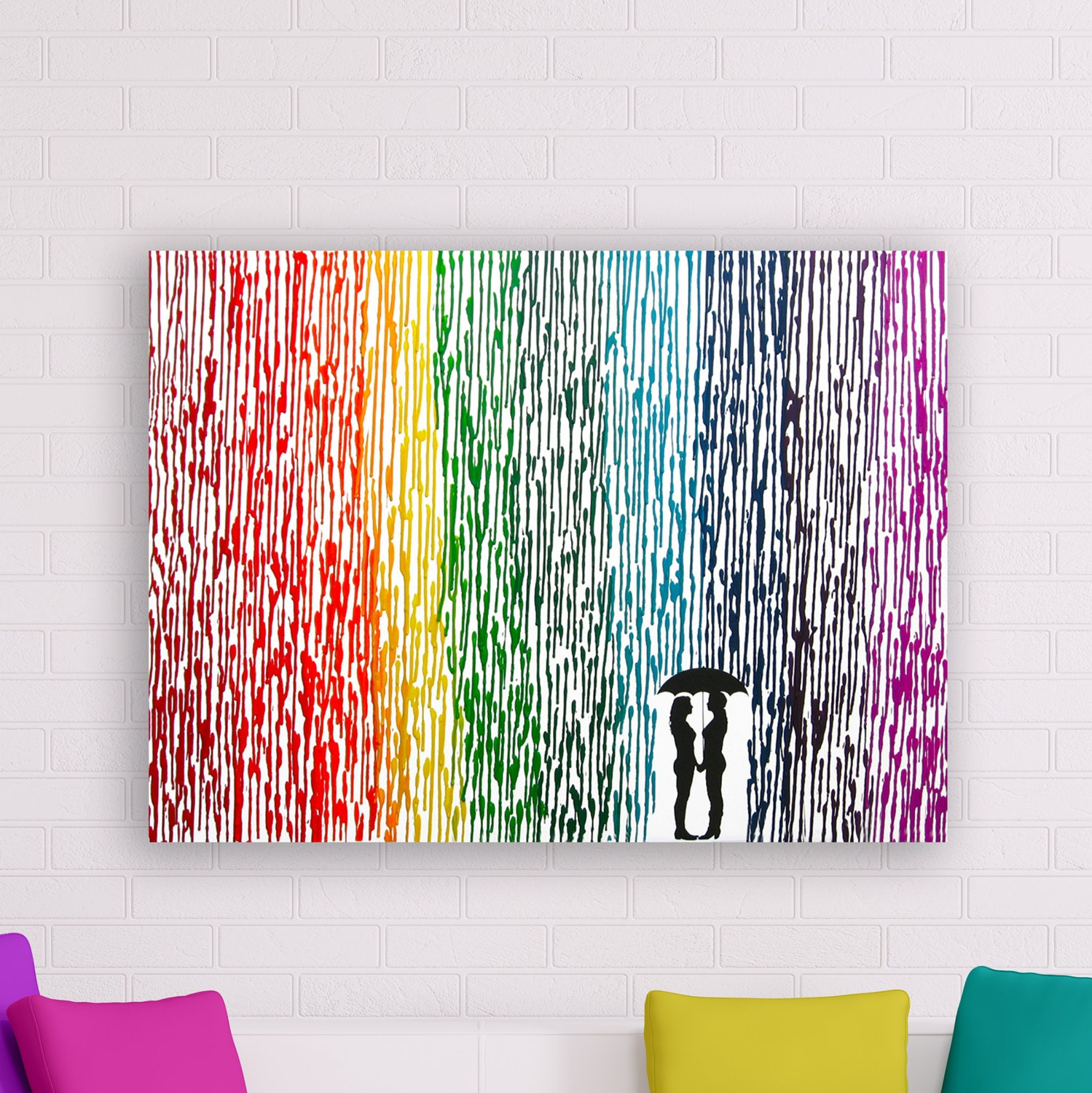 Lesbian Wedding Gift Melted Crayon Art Rainbow Painting