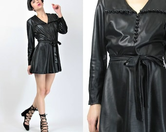 60s 70s Black Mini Dress Black Faux Leather Dress Club Kid Go Go Dancer Dress Pointed Collar Buttons Slick Wet Look Dress Belted (M) E309
