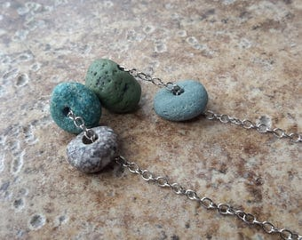 Beach Rock Necklace | Natural Stone Slag & Pebbles on Silver Chain