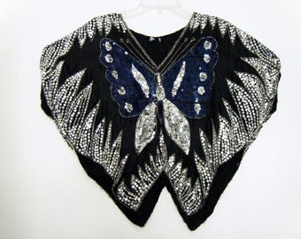 Glam DISCO Genuine 1970's BUTTERFLY SEQUINED Silk Top, made in India blouse,osfm