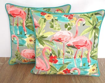 Flamingo outdoor pillow covers, set of two 15x15, tropical outdoor cushion cases, beach house pillow case, coral outdoor pillow covers