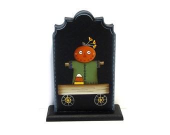 Primitive Pumpkin Head Pull Toy Shelf Sitter, Handpainted Wood,  Hand Painted Fall Autumn Halloween Decor, Tole Decorative Painting, B5