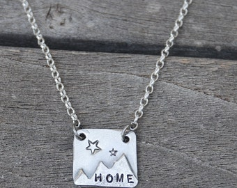 """HOME Mountain PENDANT made from Sterling Silver with tiny stars with Rolo Chain 1.6mm 17""""  hand cut soldered"""
