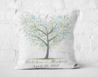 Wedding Gift Cotton Anniversary Gift Personlized Pillow Cover Heart Tree