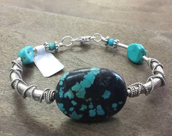 Turquoise Wire Wrapped Sterling Silver Bracelet