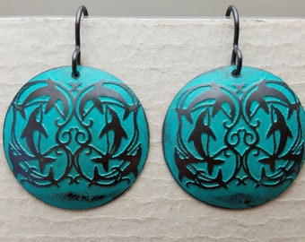 Etched Copper Leaping Dolphins Earrings