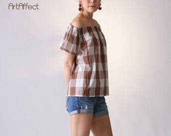 NEW Off Shoulder Top in Gingham, Cold Shoulder Top, Flare Blouse with Short Sleeve, Loose Top, Smock Neck Blouse, Brown Checker Blouse