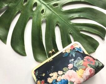 Floral Clutch Faux Leather  Purses Personalized Bachelorette Bridal Party Bags Customize Handbags Monogram Bridesmaid Gift Idea