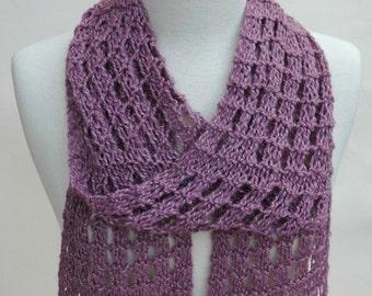 Alpaca Blend Scarf/ Hand Knit/ Mauve and Cream