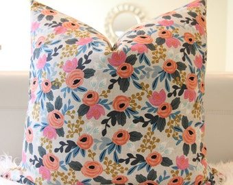Pillow Cover Rifle Paper Rosa Floral in Natural, floral pillow, medium floral,  nursery pillow, baby girl pillow,