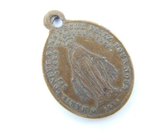 Antique Miraculous Medal - Saint Vincent de Paul Catholic Medal - Patron St Charities - Scapular Medallion -Religious Charms  Y5