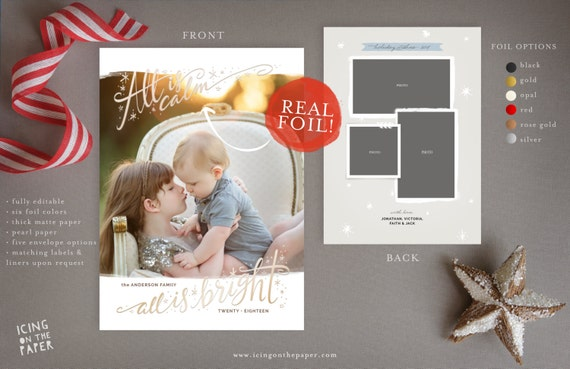 Foil Christmas Card Digital Printed Custom Holiday Photo