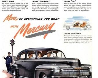 1946 Mercury Car Print Advertisement Poster Automotive Automobile Garage Mechanic Shop Auto Show Man Cave Bachelor Pad Wall Art Home Decor