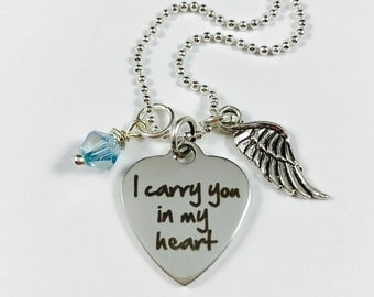I Carry You in My Heart - Laser Engraved - Stainless Steel Pendant w/ wing charm and glass bead - Customize with Initial Tag
