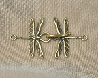 Hook and Eye Clasps Closures Dragon Fly Solid Bronze Winged Figural Insect