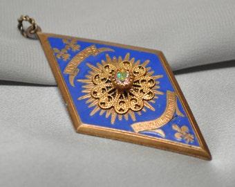 Authentic Vintage French Military Medal Gold Tone Blue Enamel Diamond Shaped Rhinestone Filigree Fleur de Lis Pendant