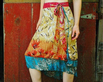 FREE SIZE... Indian Silk Wrap Skirt... Soft and Flowing.. Beautiful Colors