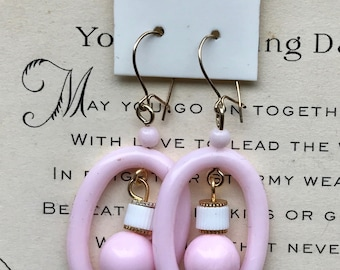 Vintage Earrings, 14 KT G.F Vintage Shabby Chic Earrings Earwire,Hoop earrings, Pastel Pink earrings,summer,Cottage Chic,Loop earrings