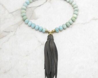 Boho Tassle Necklace. Leather Fringe Necklace. Chunky Boho Necklace. Aqua Mint Necklace. Large Amazonite. Gift for Her. TaraLynEvans.HAYLEY